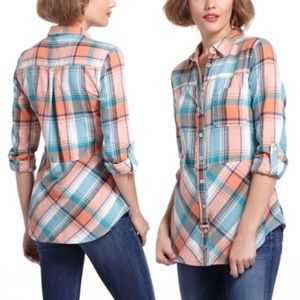 Anthropologie Holding Horses Seamed Plaid Tunic XS